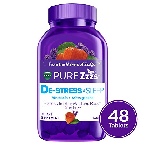 Vicks PURE Zzzs De-Stress & Sleep Melatonin Sleep Aid tablets with Ashwagandha, Chamomile, Lavender, & Valerian Root, 1mg per tablet, 48 ct