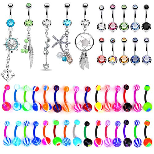 BodyJ4You 65 Belly Button Rings Dangle Barbells 14G Acrylic Bioflex Steel CZ Navel Body Jewelry ()