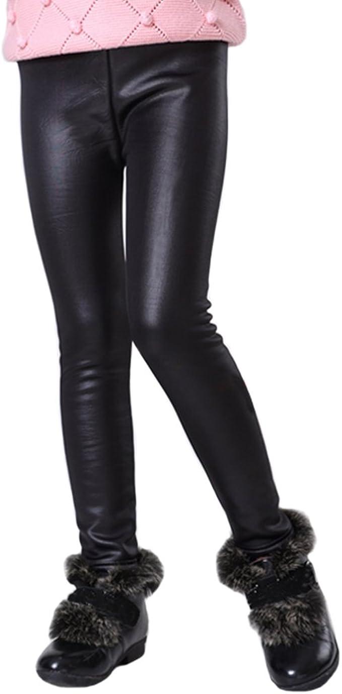 Warm Winter Girls Leggings Faux Leather Skinny Thick Velvet Kids Pants Trousers