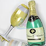 P S Retail Champagne, Wine Glass and Bottle Shaped Balloons, 36-inch (Multicolour)
