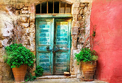 Leyiyi 8x6ft Photography Backdrop Greece Architecture Background Italian City Street Vintage Rural Building Oilpaiting Door Mediterranean Style Grunge House European Photo Portrait Vinyl Studio -