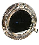 Nagina International Shipwrecked Artificially Rustic Vintage Ship's Porthole Windows | Pirate's Exclusive Nautical Wall Decor & Gifts (17 inches, Brown Patina)
