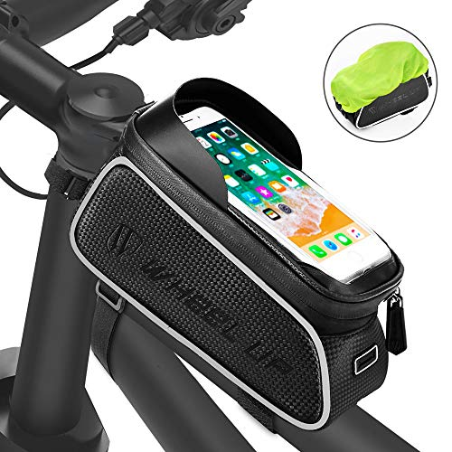 For Sale! FishOaky Bike Front Frame Bags, Waterproof Bicycle Phone Mount Bag, Sensitive Touch Screen Sun Visor Large Capacity Top Tube Bike Bag Fits for iPhone Xs / 8 Plus, Galaxy Note 9/8/7/ S9,Below 6.5″