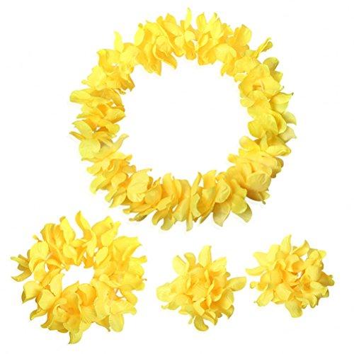 Hawaiian Luau Flower Leis Jumbo Necklace Bracelets Headband Set Yellow -