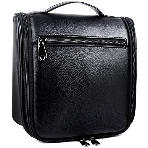Toiletry Bag,PU Leather Hanging Toiletry Bag,Cosmetic Makeup Bag for Women and Men (6020,Black)