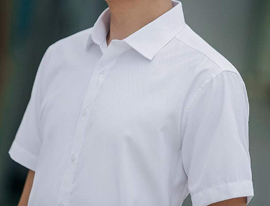 WSPLYSPJY Mens Business Slim Fit Fashion Button Down Short Sleeves Dress Shirt