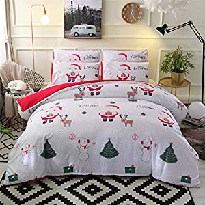 A Nice Night Christmas Deer Printed Bedding Sets Quilt Cover Set No Comforter (Christmas-Style 02, Queen)