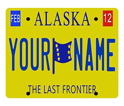 BleuReign(TM) Personalized Custom Name 2016 Alaska License Plate State Square Refrigerator Fridge Magnet (Refrigerator Name Magnets)