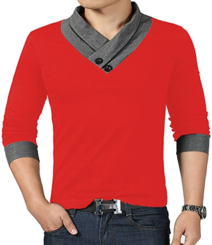YTD 100% Cotton Mens Casual V-Neck Button Slim Muscle Tops Tee Long Sleeve T-Shirts (US Small, Long Sleeve Red)