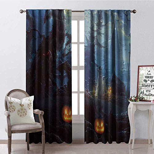 Hengshu Halloween Scary Pumpk Castle Thermal Insulating Blackout Curtain Blackout Draperies for Bedroom W84 x L84 -