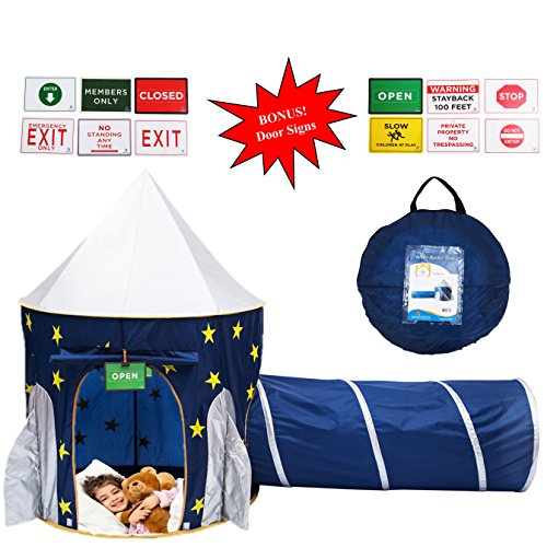 Space Tunnel (Play Kreative Space Rocketship PlayTent with Crawling Tunnel – Kids Blue pop up Tent Playouse with Yellow Stars. For Indoor/Outdoor Camping children activity center - Carry Case Included.)