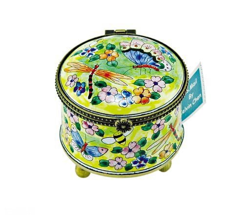 Kelvin Chen Enameled Postage Stamp Holder - Insect Garden