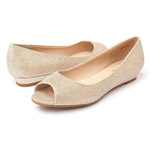 Shoes Glitter Flats Low Peep Toe Gold Dream Dories Pairs Women's Wedge Heel pcxZI