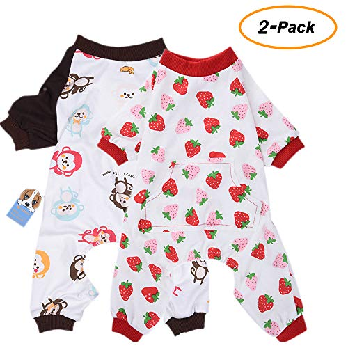 Dog Breed Pajamas - Amakunft 2-Pack Dog Clothes Dogs Cats Onesie Soft Dog Pajamas Cotton Puppy Rompers Pet Jumpsuits Cozy Bodysuits for Small Dogs and Cats