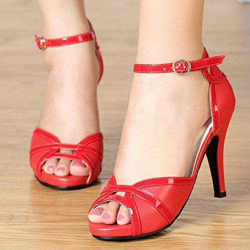 Red White Women's Sandals Buckle Pure Black Heeled Toes Peep Getmorebeauty Dress fT5vPwqxR