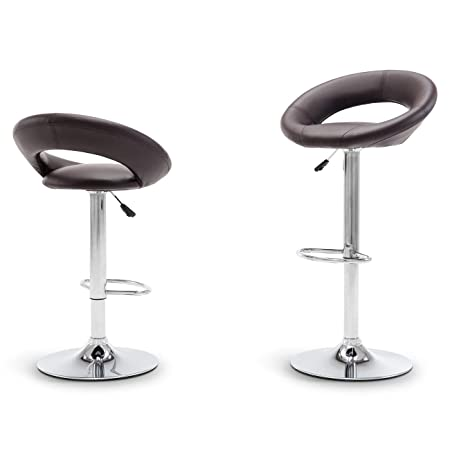Belleze Set of 2 Modern Bar Stool Pub Height Swivel Adjustable Hydraulic Faux Leather Cushion, Dark Brown