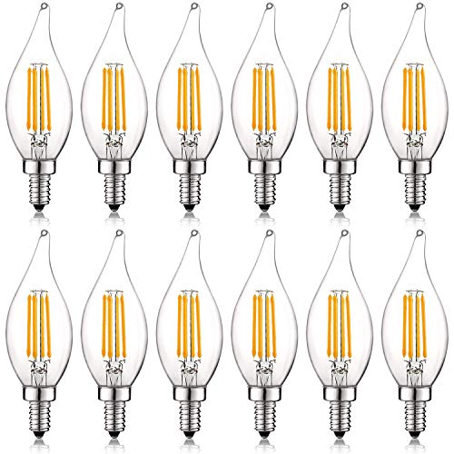 (Luxrite 4W Vintage Candelabra LED Bulbs Dimmable, 430 Lumens, 2700K Warm White, E12 LED Bulb 40W Equivalent, Flame Tip Clear Glass, Edison Filament LED Candle Bulb, UL Listed (12 Pack))