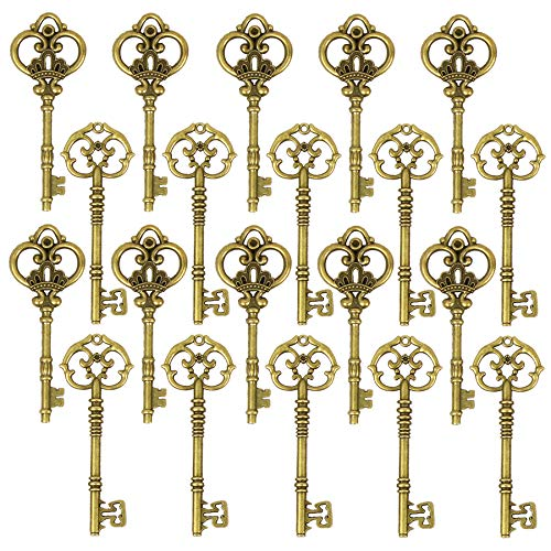 DuomiW Mixed 20 Extra Large Antique Bronze Finish Skeleton Keys Rustic Key, DIY Wedding Party Decoration Favor (2 Different Styles x 10)