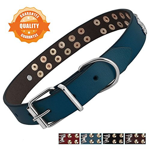 Bark Lover Leather Studded Dog Collar Genuine Leather Soft Pet Collar for Medium Large Extra Large Dogs, Walk Comfortably with Your Dog(L, Blue,Stud & Puppy)