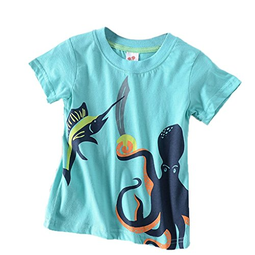 Moonker Baby Tops for 2-8 Years Old,Toddler Boys Girls Kids Summer Clothes Cartoon Octopus Print Tees Shirt (Blue, 2-3 Years Old) from Moonker
