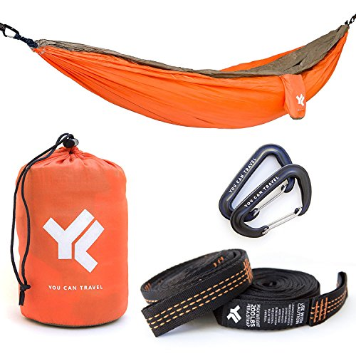 60-OFF-Pro-Portable-Camping-Double-Hammock-65x10-with-Stronger-Straps-and-Premium-Carabiners