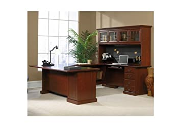 sauder office furniture heritage hill collection classic cherry executive u desk with hutch cherry office furniture