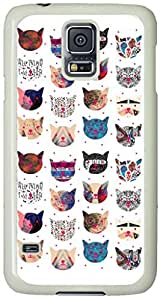 Floral-Pattern-Cat Samsung Galaxy S5 Case with White Skin