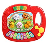 Yimosecoxiang Toys For 1-12 Year Old Girls Boys Prime Baby Kids Animal Farm Pattern Electronic Piano Early Enlightenment Musical Toy Red
