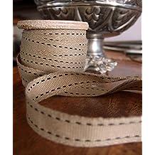 "AK-Trading Polyester Blend Burlap Webbing Ribbon With Stitching 5/8"" Inch X 25 Yards (Black)"