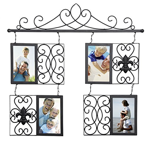 Frames Photo Decorative (WOLTU Antique Metal Collage Picture Frame Decorative Wall Hanging Photo Frame,4 Openings,4x6 with Plexiglass Protection,Black, PF40blkS4)