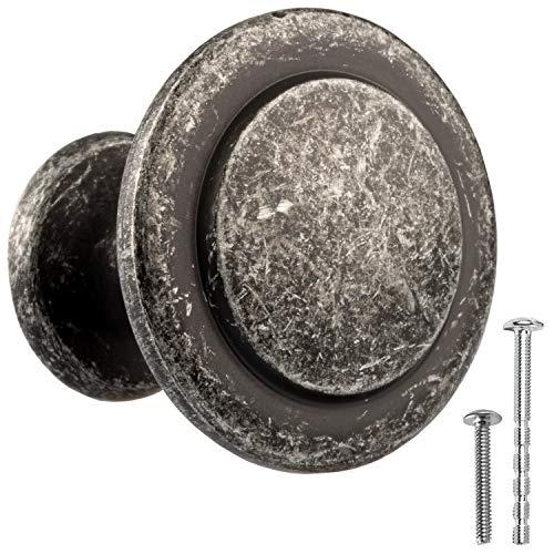Antique Iron Kitchen Cabinet Knobs - 1 1/4 Inch Round Drawer Handles - 25 Pack of Kitchen Cabinet Hardware