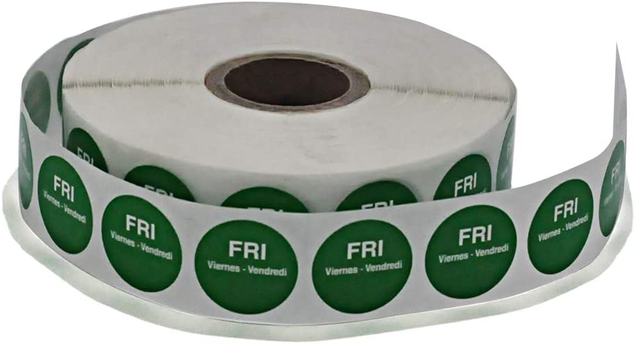 19mm Day of The Week Dot Sticker-Food Safety Rotation Permanent Label-2000Stickers per roll (Green)
