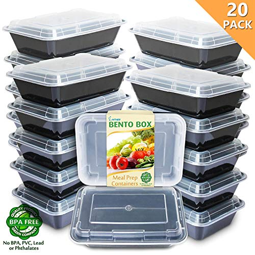 - Enther Meal Prep Containers [20 Pack] Single 1 Compartment with Lids, Food Storage Bento Box | BPA Free | Stackable | Reusable Lunch Boxes, Microwave/Dishwasher/Freezer Safe,Portion Control (28 oz)