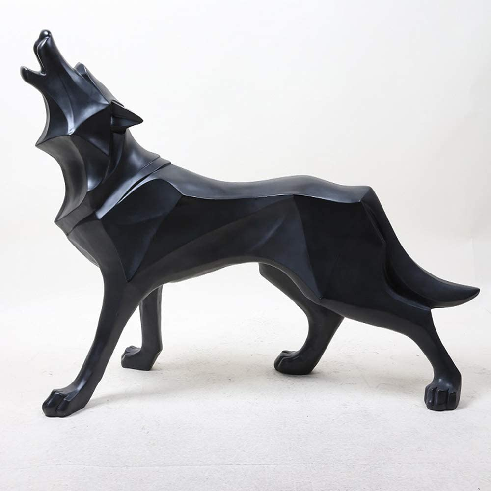 ASNOMY Polyresin Wolf Figurine Home Decor, Abstract Sculptures Home Decor, Originality Home Decoration Furnishing Animal Ornament Resin, Geometric Surface Statues Home Decor Ornament Figures