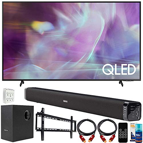 Samsung QN43Q60AA 43 Inch QLED Q60A 4K Smart TV (2021) Bundle with Deco Gear Home Theater Soundbar with Subwoofer, Wall…