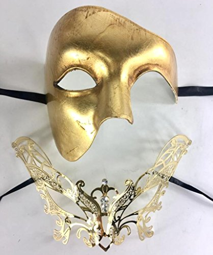 (His & Hers Masquerade Couples Venetian Design Masks - 2 Piece Gold Colored Set - Venetian Mardi Gras Party Halloween Ball Prom by VentianMasks)