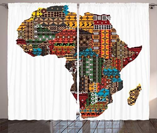 Ambesonne African Decorations Collection, Africa Map with Countries Made of Architectural Feature Popular Ancient Continent Art, Living Room Bedroom Curtain 2 Panels Set, 108 X 90 Inches, Multi