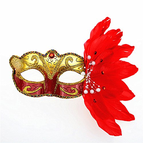 Rehot Masquerade Mask for Women Feather Costume Prom Ball Mardi Gras Halloween Christmas Party Masks (Red) -