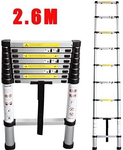 CohesiveTech Escalera telescópica de aluminio – 2,60 m, 9 Pasos – estándares EN131: Amazon.es: Bricolaje y herramientas