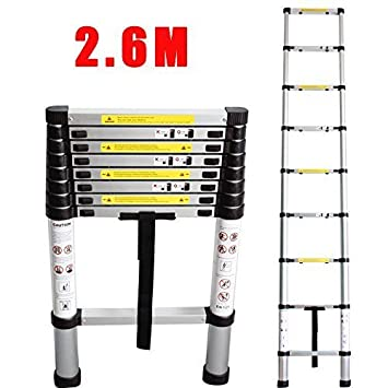 2.60 meter aluminium telescopic ladder - 9 steps - EN131 standards by Miyifan Myifan
