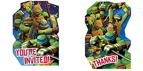 Teenage Mutant Ninja Turtles TMNT Birthday Party Invitations and Thank You Notes for 8 Guests -