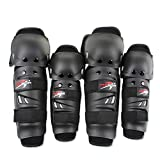 Wonzone Adults Alloy Steel Motorcycle ATV Motocross Elbow Knee Shin Guard Pads Protector Motocross Racing (4Pcs Kit) (Black)