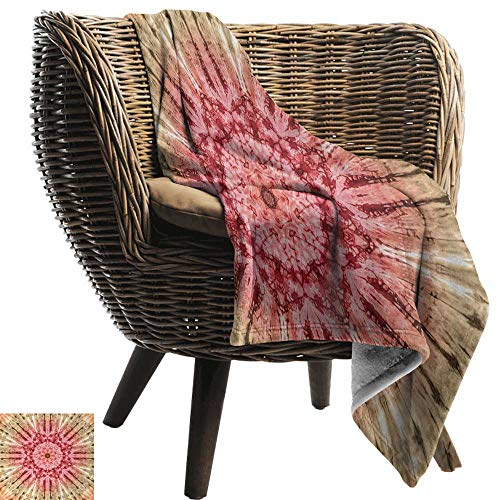 (AndyTours Blankets Fleece Blanket Throw,Batik,Gradient Circle Batik Pattern with Spectral Pleats and Distressed Spots Image Print,Red Brown,300GSM,Super Soft and Warm,Durable Throw Blanket 30