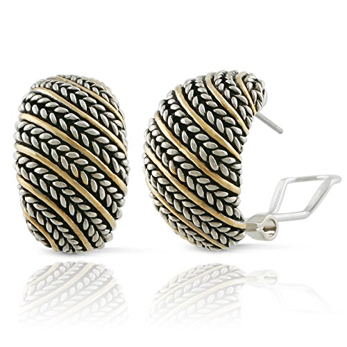 (JanKuo Jewelry Two Tone Antique Bali Style Braided Cable Half Hoop French Omege Clip Earrings)