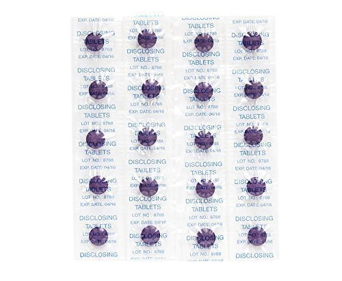 Two Tone Chewable Disclosing Tablets Shows Plaque On Teeth - 80 Count