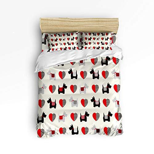 GreaBen Unique Duvet Cover Set Twill Plush Bed Sets for Kids,Cartoon Scottish Terrier Loving Printing Bedding Sets,Include 1 Duvet Cover 1 Bed Sheets 2 Pillow Case King Size