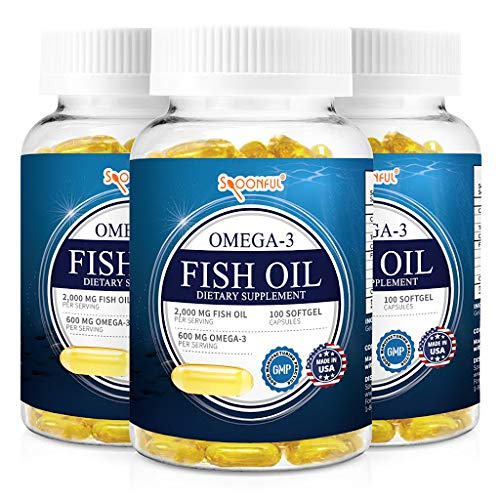 Spoonful Omega 3 Fish Oil 2000 mg, 100 Capsules, Rapid Release Softgels, NSF - Certified[3 PK]