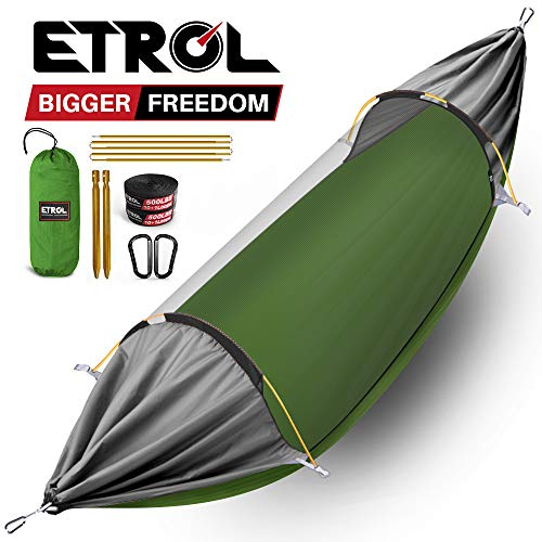 ETROL Hammock, Upgrade Camping Hammock with Mosquito Net, 3 in 1 Blackout Design Aluminium Portable Hammock Tent for Backyard, Traveling, Hiking and Other Outdoor Activities (Green & Gray) (Comfy Hammock)