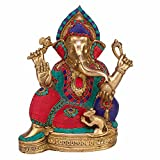 Kartique Brass murti of Lord Ganesh | Ganesha | Ganapathi | Vigneshwara | Ganpati idol decorated with Multicolored stone in sitting position