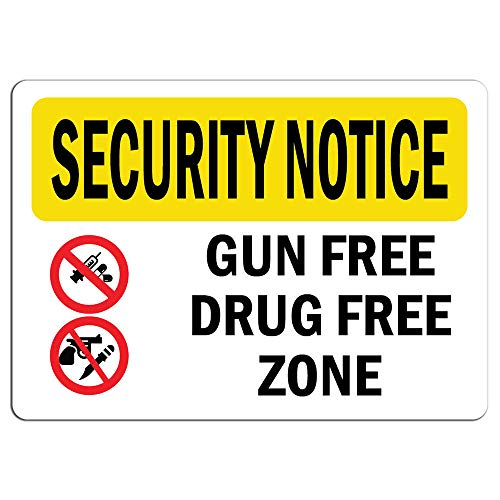 Security Notice Sign - Gun Free Drug Free Zone Bilingual |   Label Decal Sticker Retail Store Sign Sticks to Any Surface 8